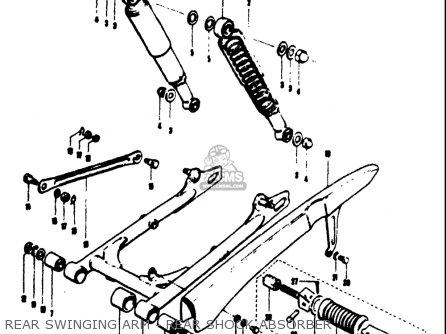 Suzuki T125ii 1971 r Usa e03 Rear Swinging Arm - Rear Shock Absorber