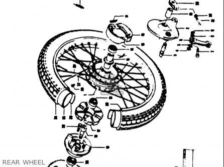 Suzuki T125ii 1971 r Usa e03 Rear Wheel