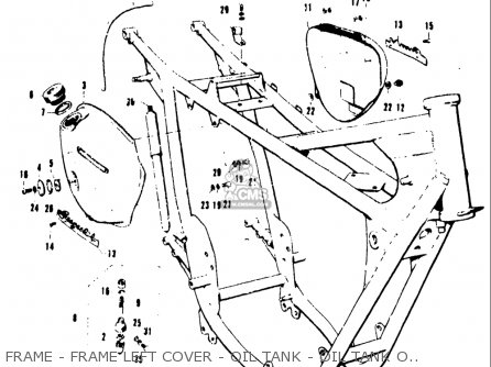 Suzuki T20 Tc250 1969 Usa e03 Frame - Frame Left Cover - Oil Tank - Oil Tank Outlet - Air Infl