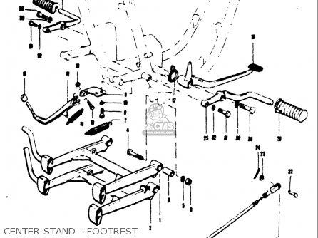 Suzuki T250iir 1972 j Usa e03 Center Stand - Footrest