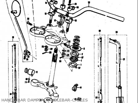 Suzuki T305 Tc305 1969 usa Handlebar Damper-handlebar-cables