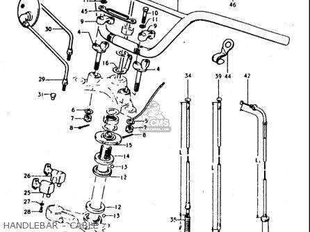 Suzuki T350 1969 1970 1971 1972   r j Usa e03 Handlebar - Cable