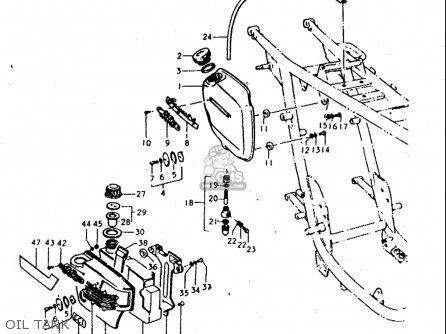 Suzuki T350 1969 1970 1971 1972   r j Usa e03 Oil Tank