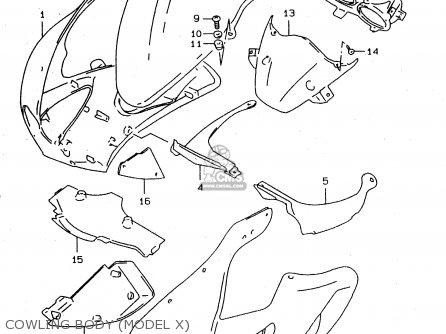 Suzuki Tl1000s 1997 v e02 E04 E18 E22 E24 E25 E34 E39   P37 Cowling Body model X