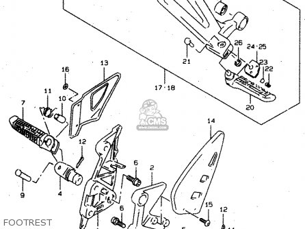 Suzuki Tl1000s 1997 v e02 E04 E18 E22 E24 E25 E34 E39   P37 Footrest