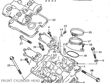 Suzuki Tl1000s 1997 v e02 E04 E18 E22 E24 E25 E34 E39   P37 Front Cylinder Head model V