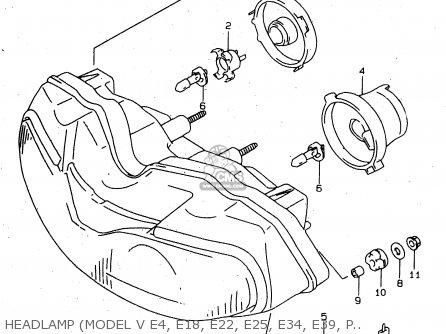 Suzuki Tl1000s 1997 v e02 E04 E18 E22 E24 E25 E34 E39   P37 Headlamp model V E4  E18  E22  E25  E34  E39  P37
