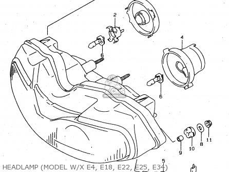 Suzuki Tl1000s 1997 v e02 E04 E18 E22 E24 E25 E34 E39   P37 Headlamp model W x E4  E18  E22  E25  E34