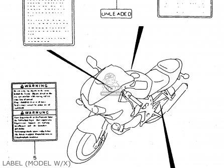 Suzuki Tl1000s 1997 v e02 E04 E18 E22 E24 E25 E34 E39   P37 Label model W x