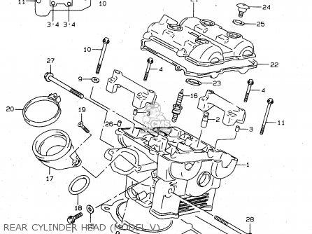 Suzuki Tl1000s 1997 v e02 E04 E18 E22 E24 E25 E34 E39   P37 Rear Cylinder Head model V