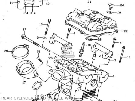 Suzuki Tl1000s 1997 v e02 E04 E18 E22 E24 E25 E34 E39   P37 Rear Cylinder Head model W x
