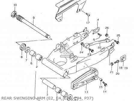 Suzuki Tl1000s 1997 v e02 E04 E18 E22 E24 E25 E34 E39   P37 Rear Swinging Arm e2  E4  E25  E34  P37