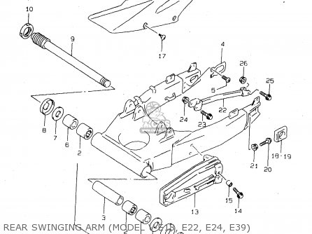 Suzuki Tl1000s 1997 v e02 E04 E18 E22 E24 E25 E34 E39   P37 Rear Swinging Arm model V E18  E22  E24  E39