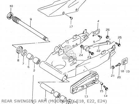 Suzuki Tl1000s 1997 v e02 E04 E18 E22 E24 E25 E34 E39   P37 Rear Swinging Arm model W x E18  E22  E24