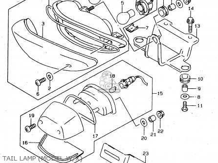 Suzuki Tl1000s 1997 v e02 E04 E18 E22 E24 E25 E34 E39   P37 Tail Lamp model W x