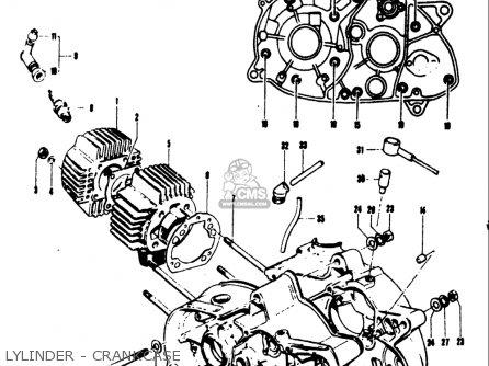 Suzuki Ts50 1971 1972 1973 1974 r j k l Usa e03 Lylinder - Crankcase