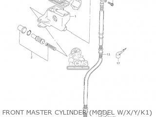 Suzuki Vl1500 Intruder 1998 w Usa e03 Front Master Cylinder model W x y k1