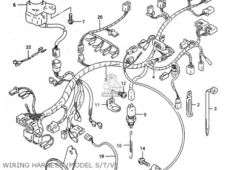 wiring harness model stv_mediumsue0122fig 33a_a7e6 3850121e01) horn assy,high rf600ru 1996 (t) (e22) 3850121e00 suzuki rv90 wiring diagram at bayanpartner.co
