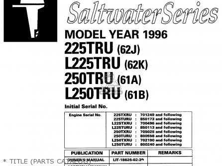 Yamaha 225 l225 250 l250tru 1996   Title parts Catalog