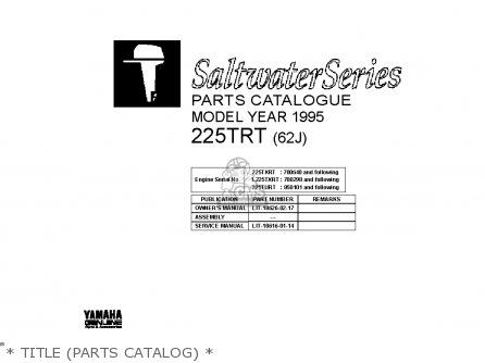 Yamaha 225trt l225trt 1995   Title parts Catalog