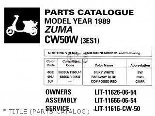 Yamaha Cw50w 1989   Title parts Catalog
