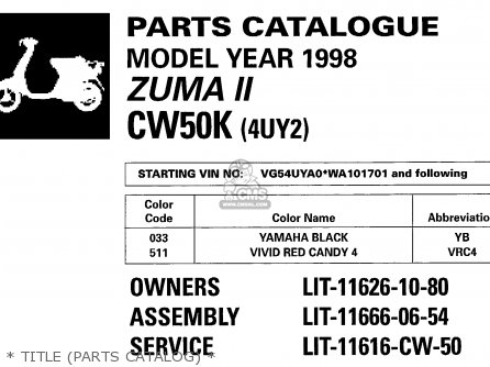 Yamaha Cw60k 1998   Title parts Catalog