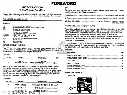 Yamaha Edl6500s 7nf1 7nfa Generator 1998   Foreword Pg   1