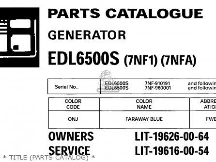 Yamaha Edl6500s 7nf1 7nfa Generator 1998   Title parts Catalog