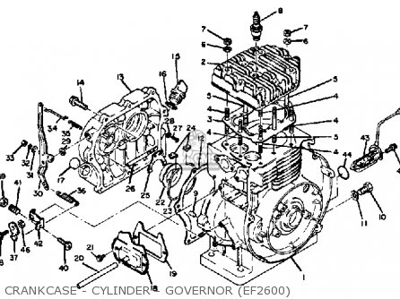 Yamaha Ef1800 Ef2600 Ef1200 Generator Crankcase - Cylinder - Governor ef2600