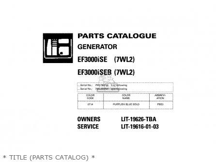 Yamaha EF3000ISE 7WL2 EF3000ISEB 7WL2 GENERATOR 2002 parts ... on