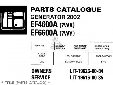 yamaha generator service manual ef6600a ef4600a