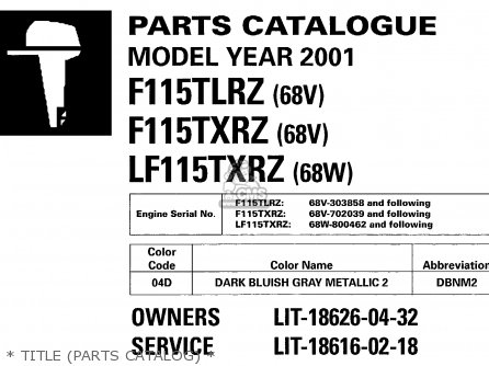 Yamaha F115tlrz txrz - Lf115txrz 2001   Title parts Catalog