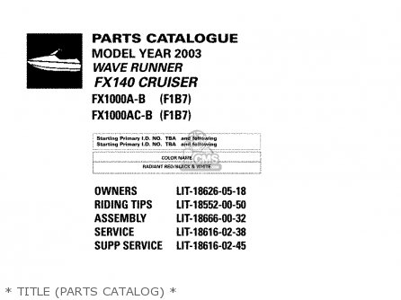 Yamaha Fx1000a-b ac-b 2003   Title parts Catalog