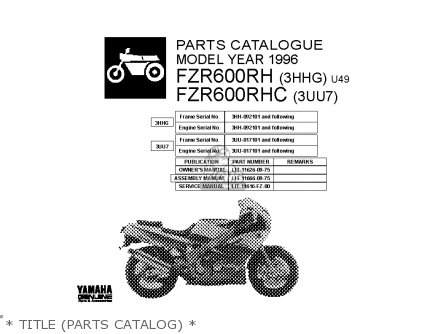 Yamaha Fzr600 Rh 1996   Title parts Catalog