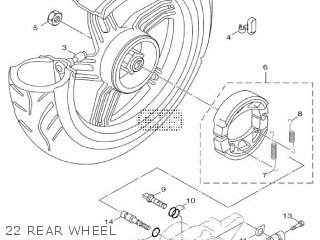 Yamaha Hw125 2012 53b1 Europe Xenter 1l53b-300e1 22 Rear Wheel