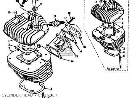 Yamaha Rt3 1972 1973 Usa Cylinder Head - Cylinder