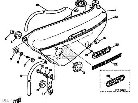 Yamaha Rt3 1972 1973 Usa Oil Tank