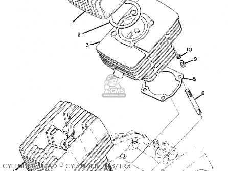 Yamaha Td3 1972 1973 1974 Usa Cylinder Head - Cylinder Td3 tr3