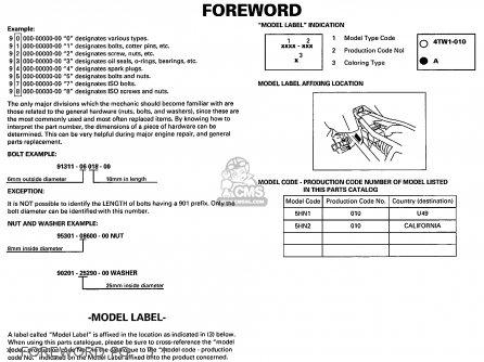 Yamaha Tt90r Tt90rc 2000 y Usa California   Foreword Pg   3
