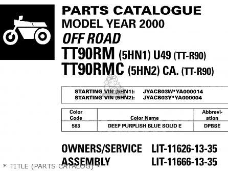 Yamaha Tt90r Tt90rc 2000 y Usa California   Title parts Catalog