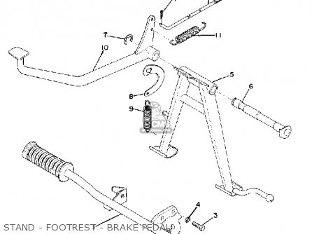 Yamaha U7e 1969 Stand - Footrest - Brake Pedal