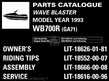 Yamaha Wb700r 1993   Title parts Catalog