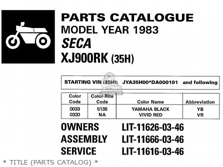 Yamaha Xj900rk 1983   Title parts Catalog