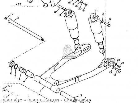 Yamaha Xs2 1972 Usa Rear Arm - Rear Cushion - Chain Case