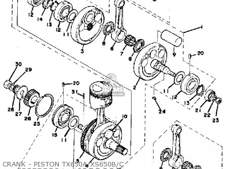 yamaha xs650 1975 usa parts lists and schematics rh cmsnl com xs650 engine schematic 1978 XS650 Wiring-Diagram