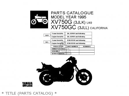 Yamaha xv750 virago 1995 s usa parts list partsmanual for Yamaha electronic parts catalog