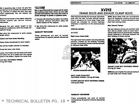 Yamaha Xvz12td Venture Royale 1983 d Usa   Technical Bulletin Pg  18