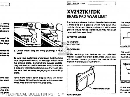 Yamaha Xvz12td Venture Royale 1983 d Usa   Technical Bulletin Pg   1