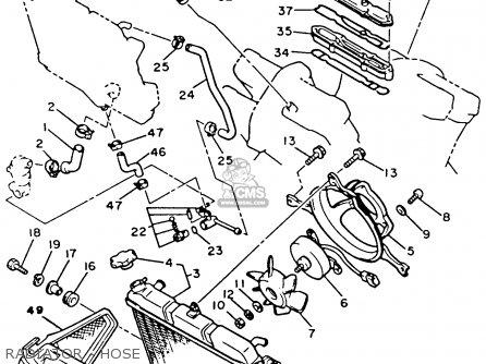 Yamaha Xvz12tdk Venture Royale 1983 Radiator - Hose