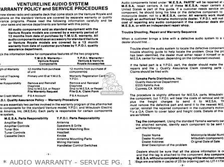 Yamaha Xvz12tdk Venture Royale 1983   Audio Warranty - Service Pg   1
